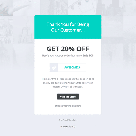 Drip Email Templates - Coupon Code Template